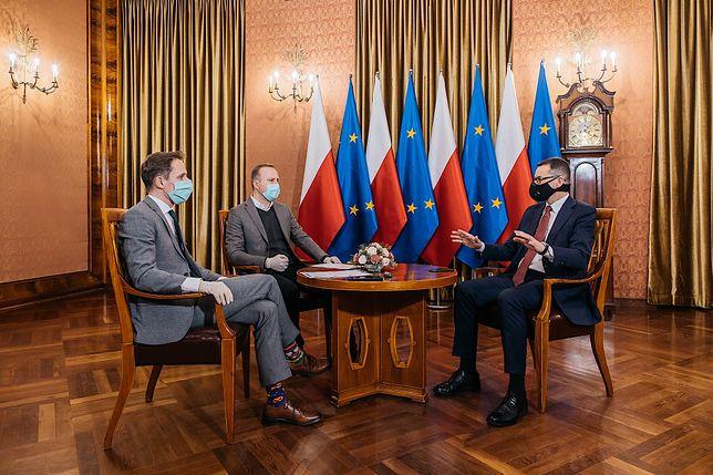 Mateusz Morawiecki: za błędy przepraszam. Marcin Makowski i Patrycjusz Wyżga podczas rozmowy z premierem RP