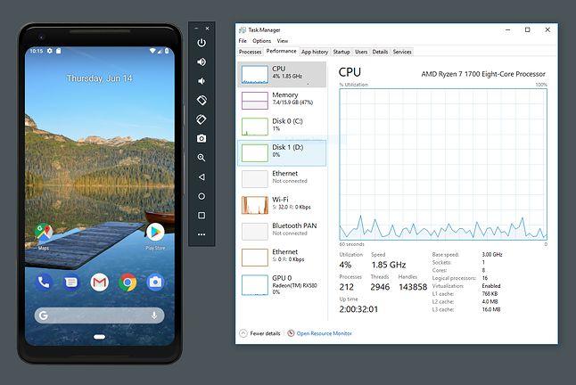 Obciążenie procesora AMD Ryzen 7 1700 podczas pracy emulatora, źródło: Google.