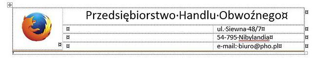 Dokument z nagłowkiem sformatowanym w tabeli