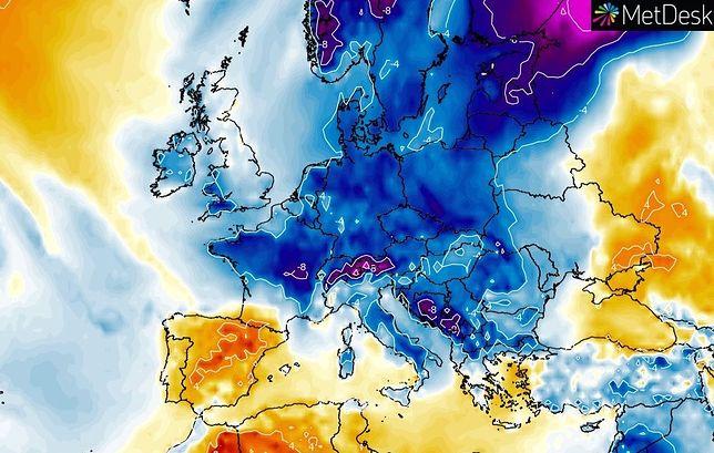 Pogoda. Możliwy atak zimy w drugiej połowie marca. Grafika przedstawia przewidywane na 22 marca anomalie temperatur poniżej średniej wieloletniej