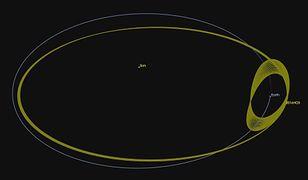 Kosmos. Ziemia krąży wokół Słońca, a wraz z nią asteroida