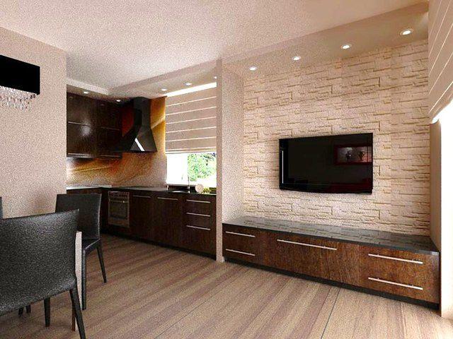 Kolorowy salon w połączeniu z kuchnią - aranżacja