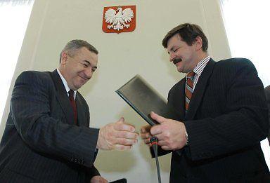 Przewodniczący PSL Jarosław Kalinowski i szef  PBLudowego Wojciech Mojzesowicz