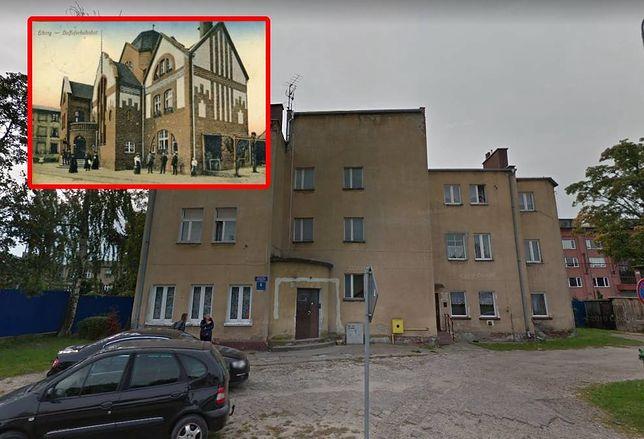 Dawny budynek stacji kolejowej  Elbląg Miasto (HUB Elbing Stadt) dziś jest zwykłym blokiem mieszkalnym. Zmiany przeprowadzane przez jego mieszkańców oszpeciły go bezpowrotnie w latach 60. (fot. Google Maps, rok 2017, dziś budynek jest odmalowany)