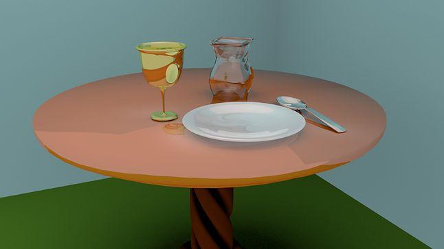 Stół z zastawą z różnymi rodzajami materiałów