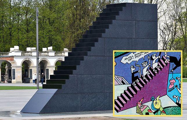 Pomnik ofiar katastrofy smoleńskiej przypomina surrealistyczne schody z komiksu Papcia Chmiela?