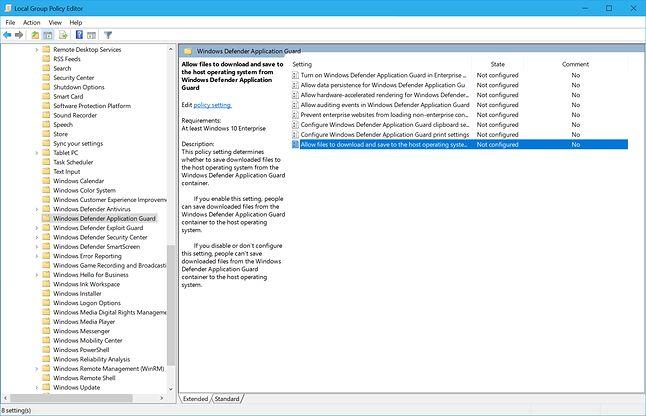 Krok 1: Edycja wpisów dotyczących WDAG w edytorze Local Group Policy. Źródło: blogs.windows.com