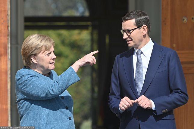 """Kanclerz Merkel w Polsce. Niemieckie media o """"afroncie prezydenta Dudy"""". Na zdjęciu Angela Merkel i Mateusz Morawiecki podczas sobotniego spotkania w Warszawie"""