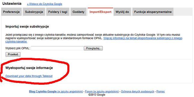 eksport ustawień z Czytnika Google