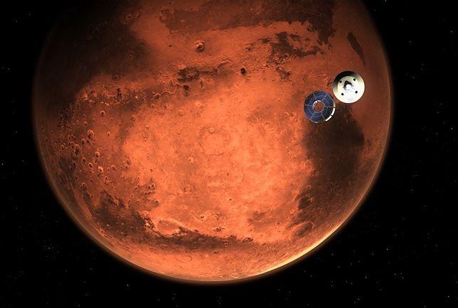 Lądowanie misji Mars 2020  - wizualizacja