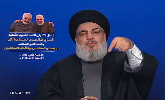 Szef libańskiego Hezbollahu Hassan Nasrallah przemawiał w Bejrucie po śmierci generała Kasema Sulejmaniego