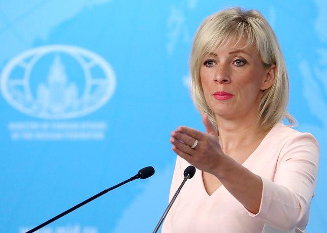 Rzeczniczka rosyjskiego MSZ Maria Zacharowa podczas konferencji prasowej.