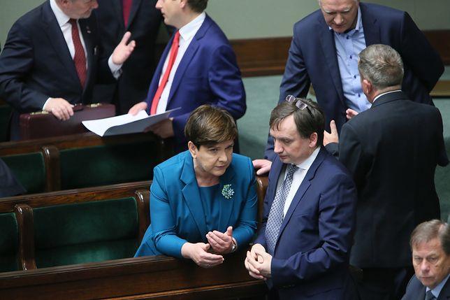 Premier Beata Szydło i minister sprawiedliwości Zbigniew Ziobro w Sejmie.