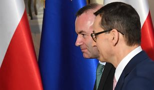 Manfred Weber, przewodniczący grupy poselskiej Europejskiej Partii Ludowej, i premier Mateusz Morawiecki