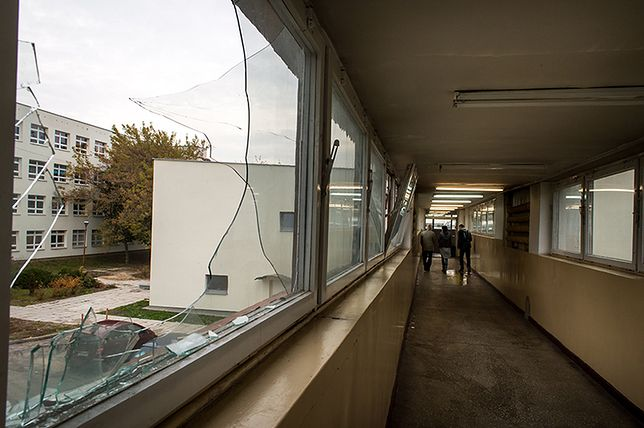 Miejsce wypadku - łącznik między budynkami Uniwersytetu Technologiczno-Przyrodniczego w Bydgoszczy.