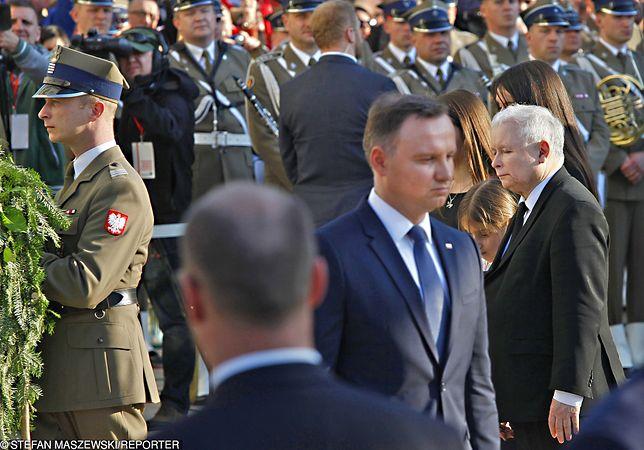 Prezes PiS Jarosław Kaczyński oraz prezydent Andrzej Duda
