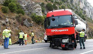 Ciężarówka, która uczestniczyła w wypadku w Pancorbo. Prowadził Polak