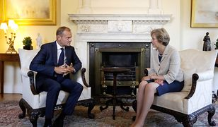 Britain's Prime Minister Theresa May, right, talks with President of the European Council Donald Tusk at 10 Downing Street in London, Thursday, Sept. 8, 2016. They met for a bilateral meeting to discuss Brexit, amid increasing pressure over a lack of detail in the Government's stated strategy. (AP Photo/Kirsty Wigglesworth, Pool)