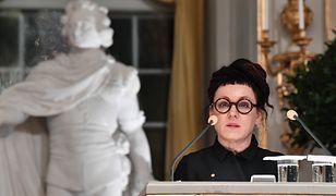 Olga Tokarczuk podczas noblowskiego wykładu