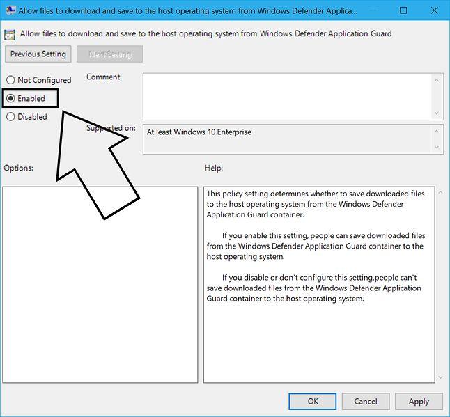 Krok 2: Aktywacja funkcji pobierania plików bezpośrednio do hosta. Źródło: blogs.windows.com