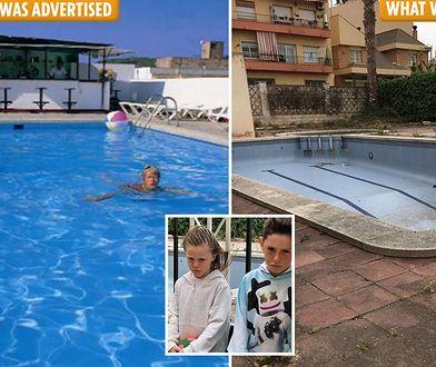 Zamiast obiecywanej atrakcji rodzina zastała pusty, zaniedbany basen.