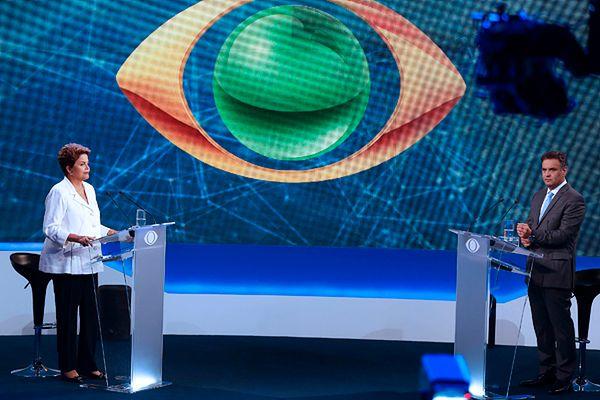 Dilma Rousseff i Aecio Neves w czasie telewizyjnej debaty