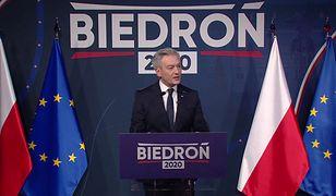 Wybory prezydenckie 2020. Robert Biedroń o Oldze Tokarczuk na konwencji