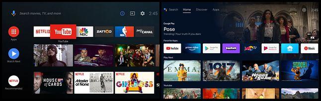 Lewo: stary wygląd Android TV, prawo: nowy wygląd wzorowany na Google TV