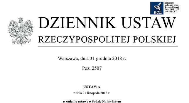 Ustawa o Sądzie Najwyższym opublikowana w Dzienniku Ustaw