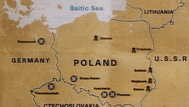 """Taka mapa Polski znalazła się w serialu """"Iwan Grożny z Treblinki""""."""