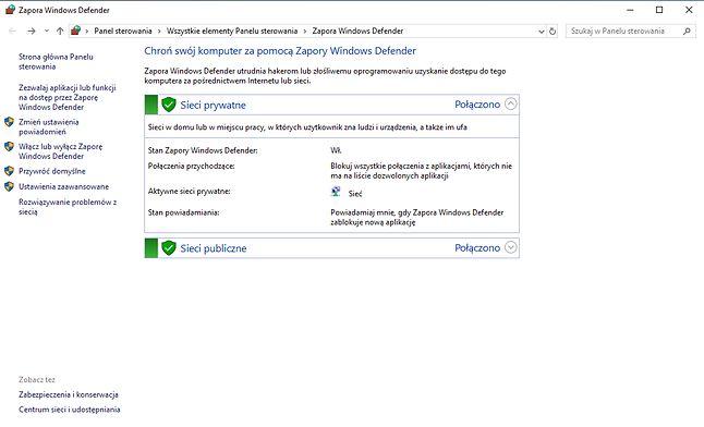 Ustawienia zapory w ramach funkcji Windows Defender.
