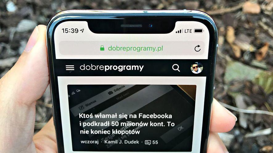 Notch w iPhonie XS.