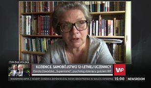 Dorota Zawadzka komentuje napis na budynku MEN