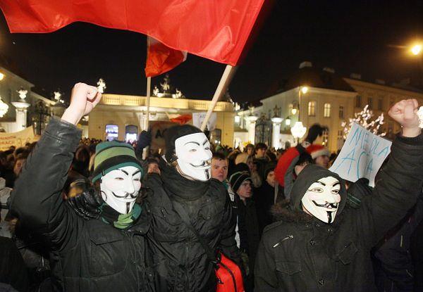 Protestujący przeciwko ACTA