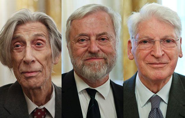 Laureaci nagrody. Od lewej: prof. Jerzy Jedlicki, prof. Kazimierz Rzążewski, prof. Stanisław Penczek