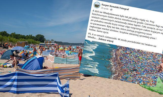 Wakacje 2020. Tłumy na plaży we Władysławowie