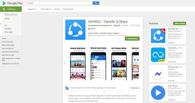 Aplikacja SHAREit jest bez problemu dostępna w Sklepie Play, fot. Oskar Ziomek.