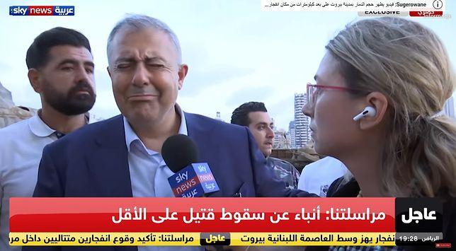 Wybuch w Bejrucie. Gubernator Marwan Abboud na miejscu tragedii nie potrafił powstrzymać emocji