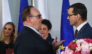 Premier Mateusz Morawiecki i europoseł Jacek Saryusz-Wolski