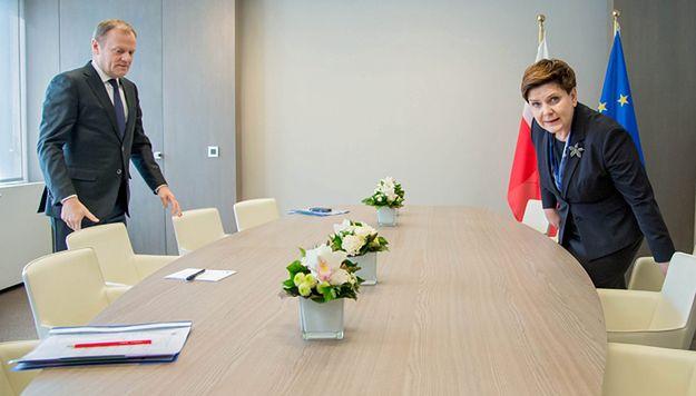 Szef Rady Europejskiej Donald Tusk podczas spotkania z premier Beatą Szydło.