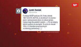 """Wiceminister z PiS stanowczo: """"Bez TVP nie byłoby WOŚP"""""""