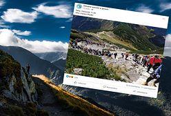 Najazd turystów na Tatry. Korki na szlakach i TOPR w akcji. Zdjęcie mówi wszystko