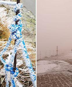 Śnieg w Tatrach i oblodzony Kasprowy Wierch. Pogoda odstrasza turystów