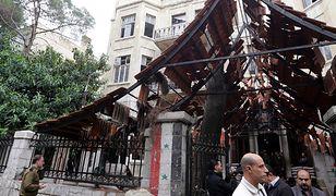 Zniszczenia po ataku samobójczym w Damaszku, stolicy Syrii