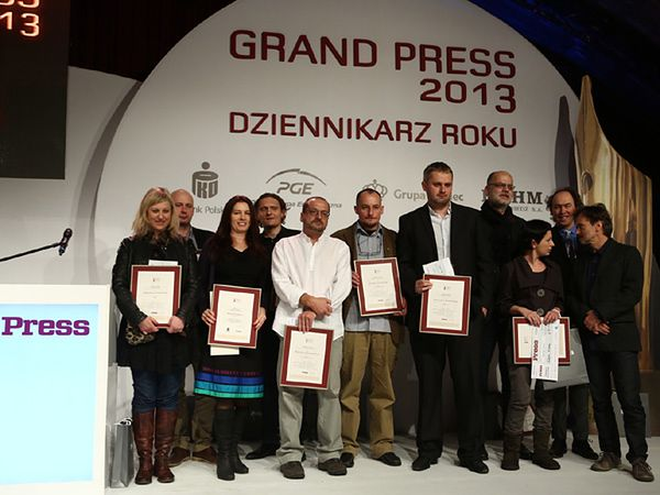 Laureaci konkursu podczas gali Grand Press 2013