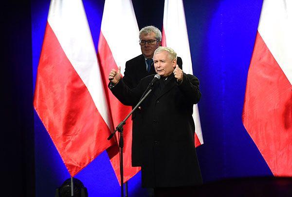 """Jarosław Kaczyński podczas """"Marszu w Obronie Demokracji i Wolności Mediów"""""""