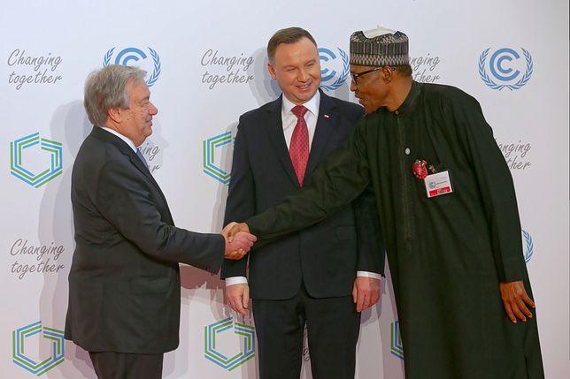 Prezydent Andrzej Duda, sekretarz generalny ONZ Antonio Guterres  i prezydent Nigerii Muhammadu Buhari  podczas uroczystego otwarcia Szczytu Klimatycznego ONZ COP24 w Katowicach