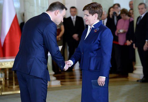 Premier Beata Szydło z prezydentem Andrzejem Dudą