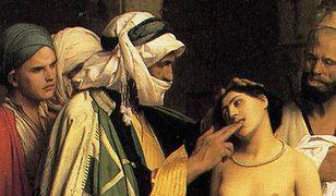 """Fragment obrazu """"Targ niewolników"""" Jean-Léona Gérôme''a z 1866 r., przedstawiający handel niewolnikami na Bliskim Wschodzie"""