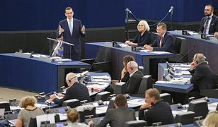 Premier Mateusz Morawiecki podczas debaty o przyszłości Unii Europejskiej w Parlamencie Europejskim.